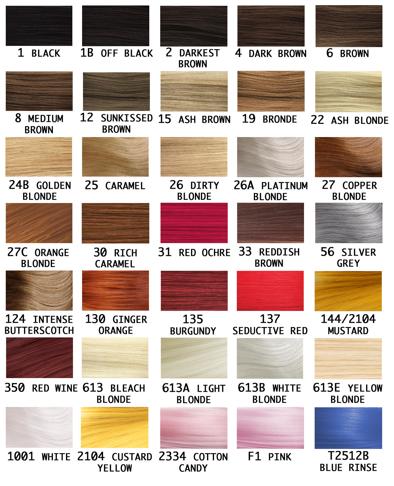 Wig Colour Chart