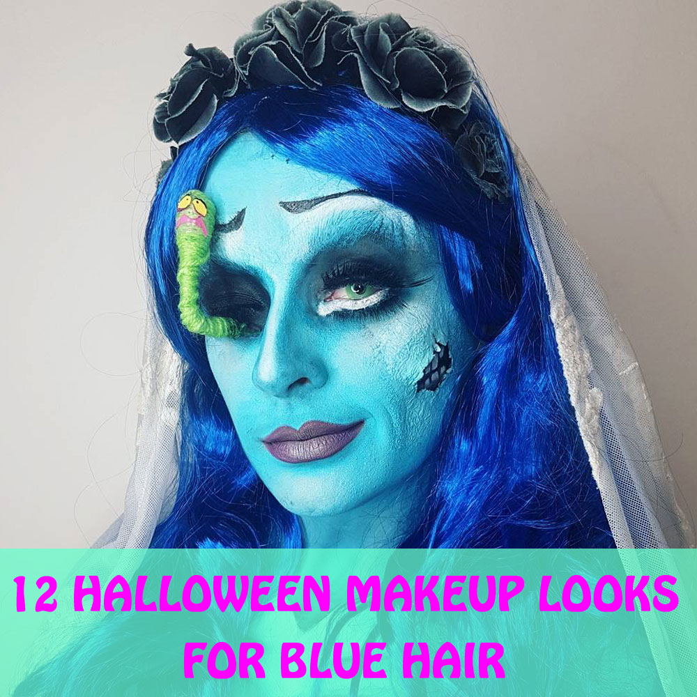 Halloween Makeup With Blue Wigs