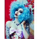 Blue Afro Wig Curly Large
