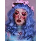 Blue Wig Curly With Bangs