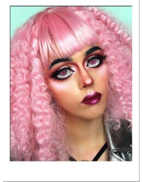 Curly Pink Wig With Bangs