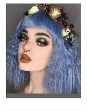 Blue Wavy Wig With Short Fringe UK