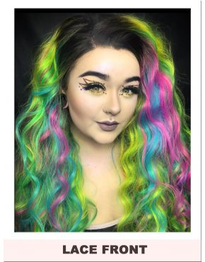 Bright Rainbow Lace Front Wig UK