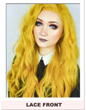 Long Mustard Yellow Lace Front Wig UK