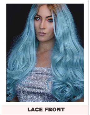 Long Pastel Blue Lace Front Wig UK