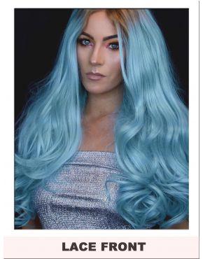Long Pastel Blue Lace Front Wig UK