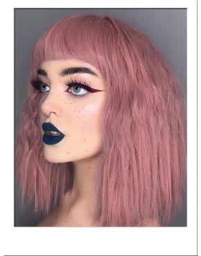 Pink Wig Wavy Bob
