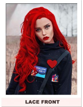 Red Wig Lace Front Long