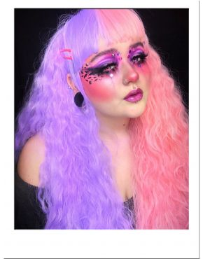 Half Pink And Half Purple Wig