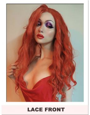 Long Deep Orange Red Wavy Lace Front Wig