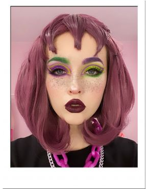 Purple Wig Bob With Bangs