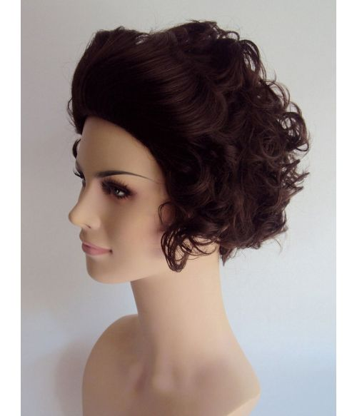 Granny Wig Brown Curly Short