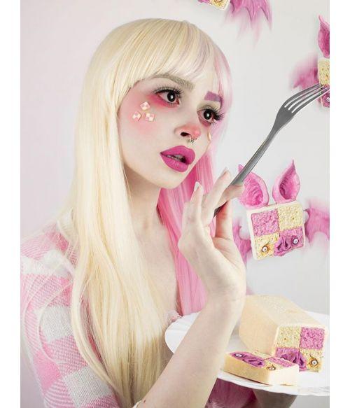 Half Pink Half Blonde Wig