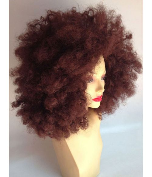 Kinky Curly Afro Wig Brown