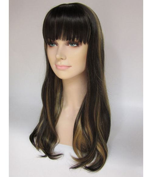 Long Dark Brown Wig With Blonde Highlights