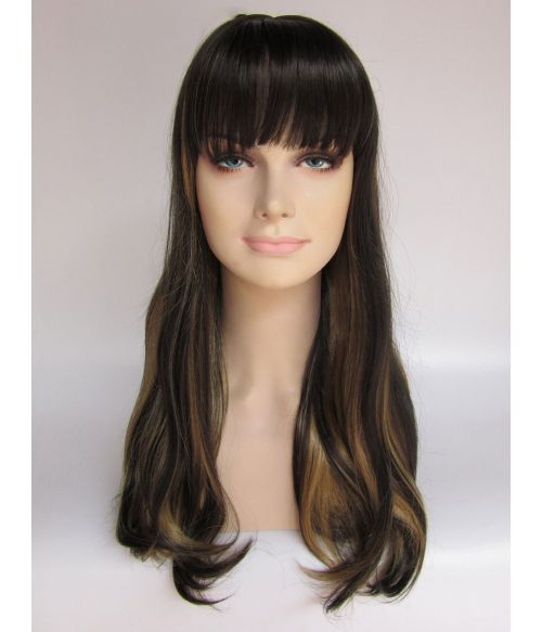 Long Dark Brown Wig With Blonde Highlights UK