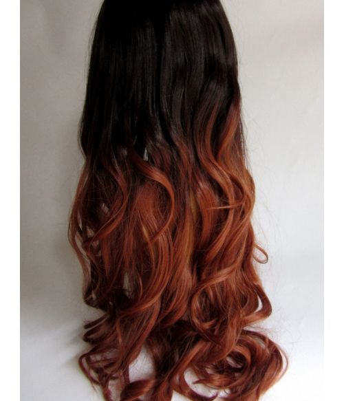 Long Wavy Ombre Wig Brown Red
