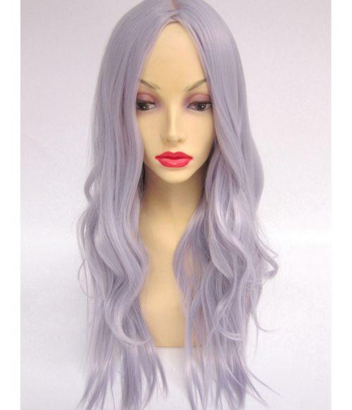 Long Wavy Silver Wig UK