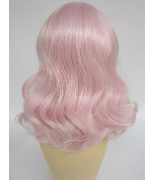 Mid Length Pink Wavy Wig