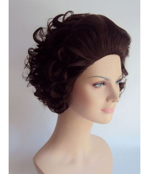 Old Lady Wig Brown Short Curly