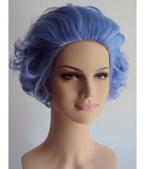 Old Lady Wig Curly Short Blue