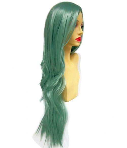 Pastel Green Wig Long Wavy