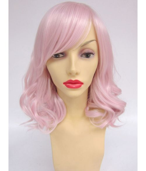 Pastel Pink Mid Length Wig