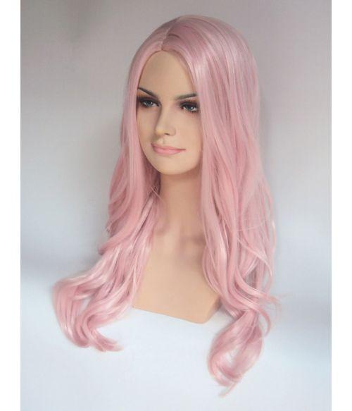 Pastel Pink Wig Long Wavy