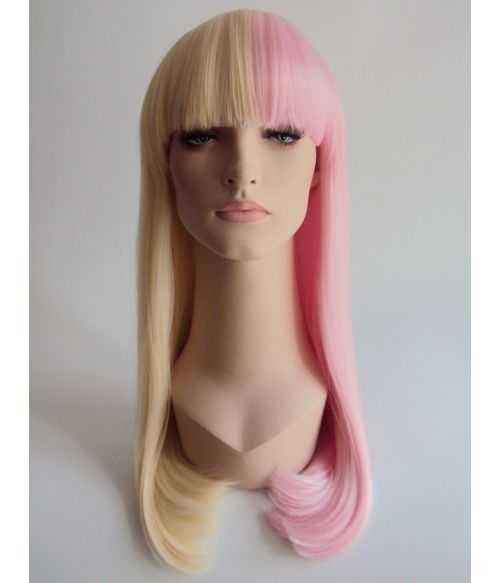 Pink And Blonde Split Colour Wig