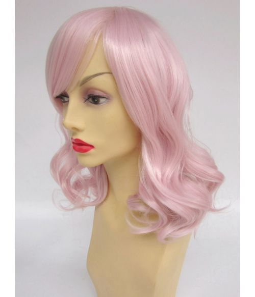 Pink Mid Length Wig Wavy