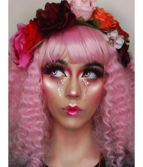 Pink Wig With Bangs Curly