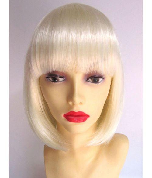Platinum Blonde Bob Wig With Bangs