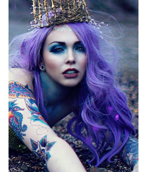 Purple Wig Pastel Wavy Long