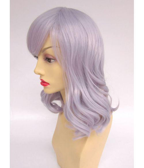 Silver Mid Length Wig Wavy