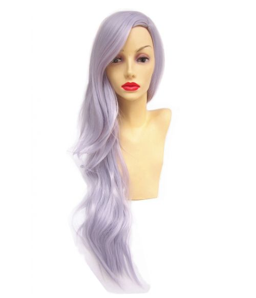 Silver Wig Side Part