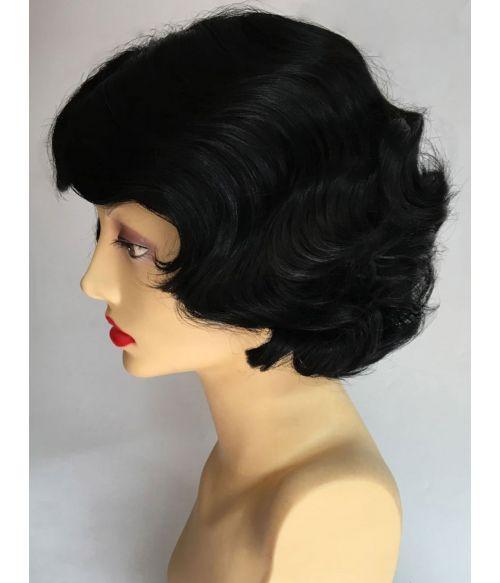 1920s Wig Finger Waves Black Flapper