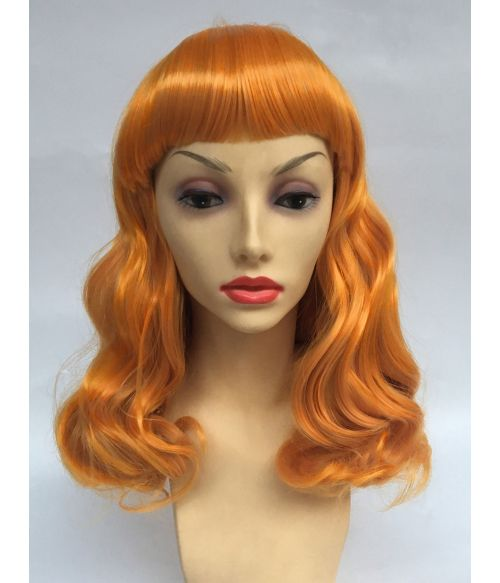 1950s Wig Ginger Orange With Bangs