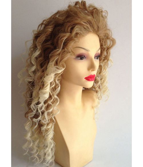 Afro Wig Blonde Long With Dark Roots