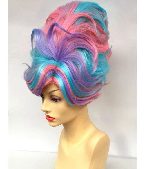 Beehive Wig Blue Pink Purple