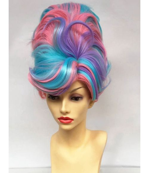 Beehive Wig Pink Blue Purple