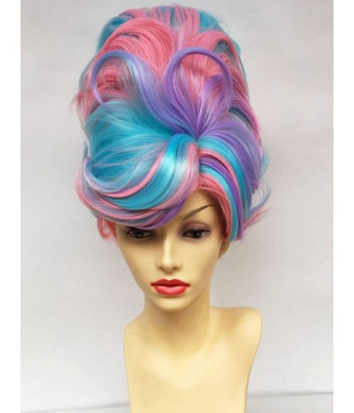 Beehive Wig Pink Purple Blue