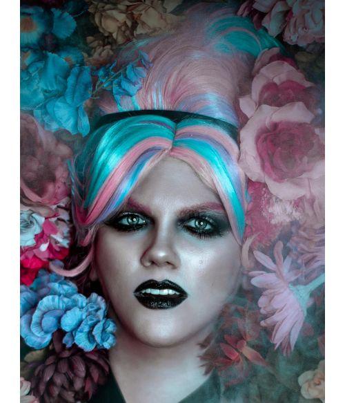 Pink Blue And Purple Beehive Hair Wig