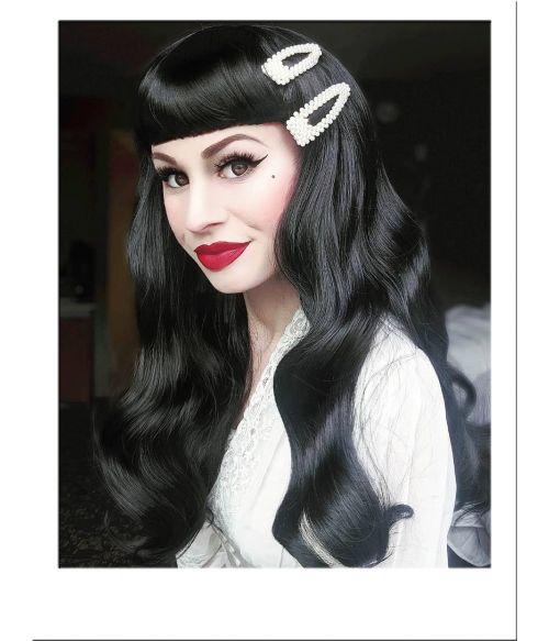 Black Vintage Wig Rockabilly Bettie Page