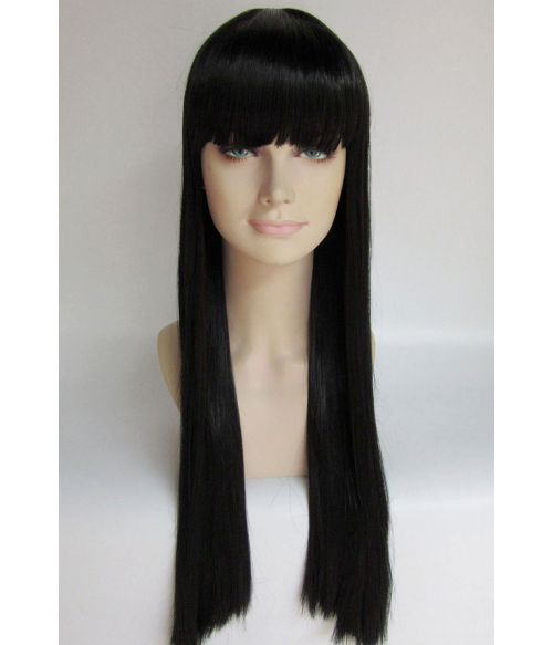 Black Wig Long Straight With Bangs