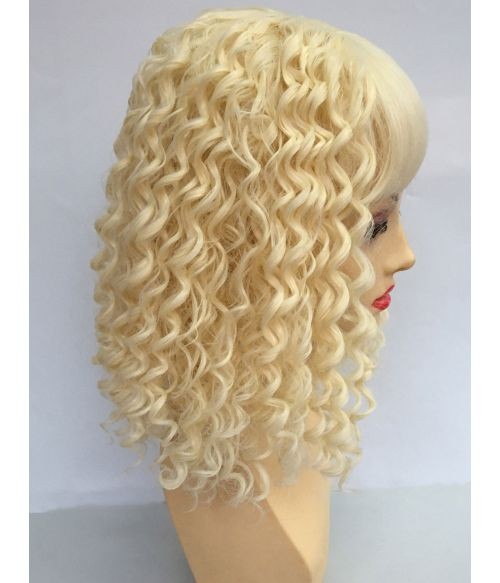 Blonde Wig Kinky Curly With Bangs