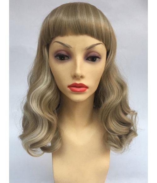 Blonde Wig Medium Length Curly With Bangs