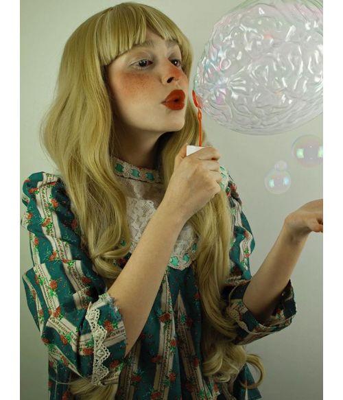 Blonde Wig With Fringe Long Wavy