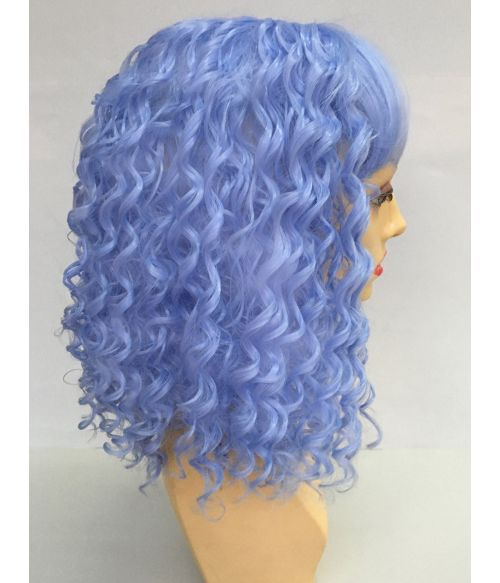Blue Curly Wig