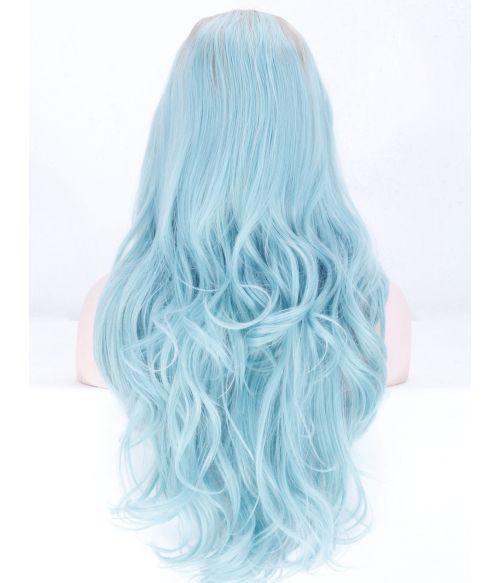 Blue Wig Lace Front Light Blue