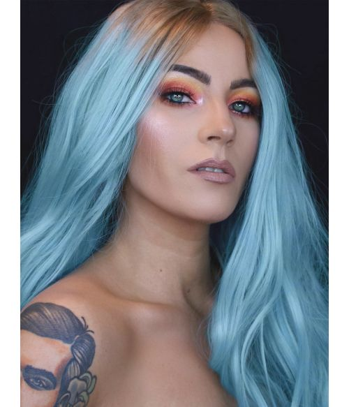 Blue Wig Long Wavy Lace Front